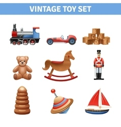 Vintage Toy Icons Set vector image vector image