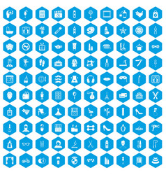 100 beauty and makeup icons set blue vector