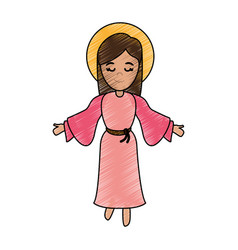 blessed holy virgin mary icon vector image vector image