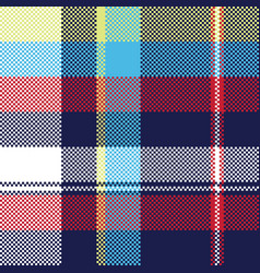 blue check pixel fabric texture seamless pattern vector image vector image