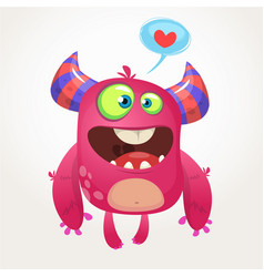 cartoon pink cool monster in love vector image