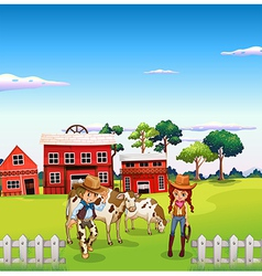 A cowboy and a cowgirl at the farm vector image