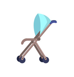 blue baby carriage isolated on white perambulator vector image