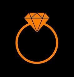 diamond sign orange icon on black vector image