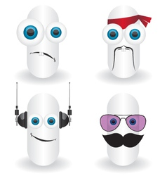 Funny characters faces vector image