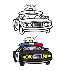 police car coloring book vector image vector image