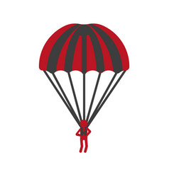 red person flying with striped parachute graphic vector image