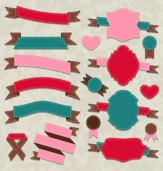 Set ribbons vintage labels geometric emblems vector image