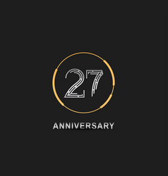 27 anniversary logotype with silver number vector