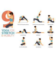 9 yoga poses for stretch and mobility concept vector image