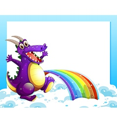 A dragon near the rainbow in front of the empty vector image
