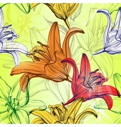 Abstract floral blooming lilies background vector