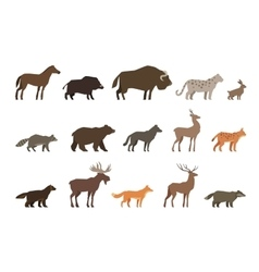 Animals set colored icons isolated on white vector