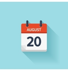 August 20 flat daily calendar icon Date vector image