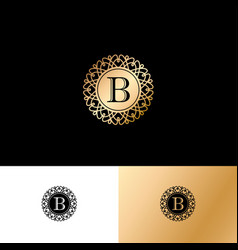 b gold letter monogram gold circle lace ornament vector image