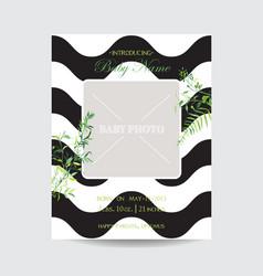 baby shower arrival floral card with frame photo vector image