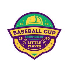 Baseball kids championship vintage label vector