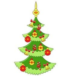 beautiful cartoon xmas tree vector image
