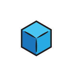 Blue box icon design template isolated vector