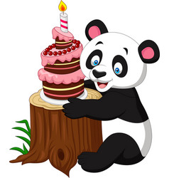 Cartoon funny panda with birthday cake vector
