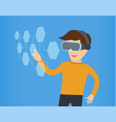 cartoon guy in virtual reality with glasses eps 10 vector image