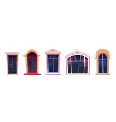 cartoon windows set glasses with stone frames vector image