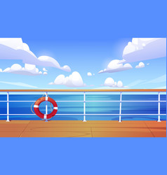 cartoon with cruise ship deck and sea vector image