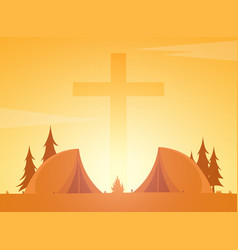 christian summer camp evening camping cross vector image