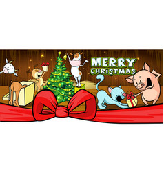 Christmas card with farm animal in cowshed banner vector