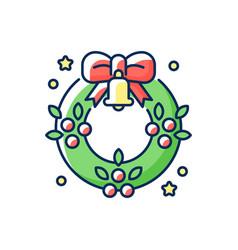christmas wreath rgb color icon vector image