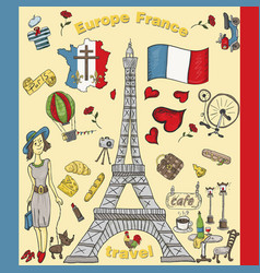 Color travel 8 to europe france symbols and vector