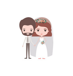 Colorful caricature newly married couple groom vector