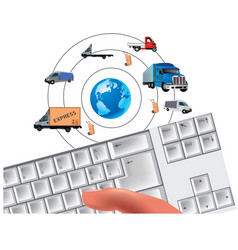 Computer keyboard search travel information agency vector