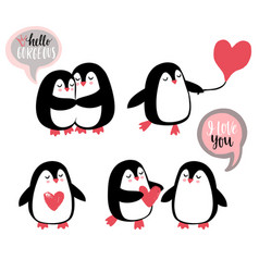 cute romantic penguins vector image