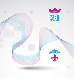 Decorative wavy template background with silky vector