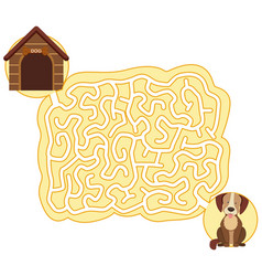 dog maze puzzle game template vector image