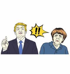 Donald trump and angela merkel cartoon vector