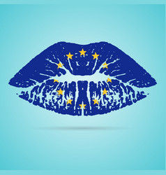 European union flag lipstick on the lips isolated vector