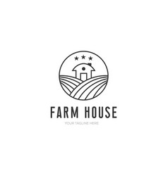 farm house minimalist design with line art style vector image