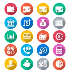 Financial management flat color icons vector image
