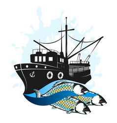 Fishing vessel with catch vector