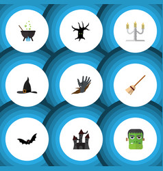flat icon halloween set of magic candlestick vector image