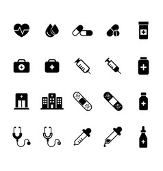flat medical pharmacy icons set vector image