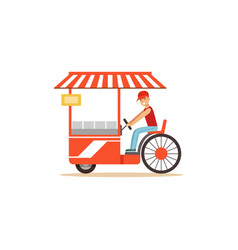Flat street food cart with fast food vector