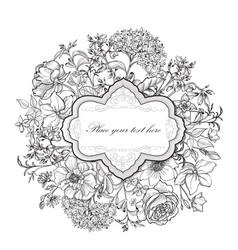 Floral frame flower greeting card border flourish vector