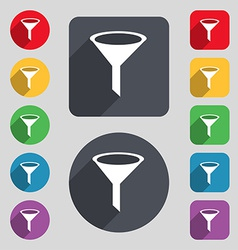 Funnel icon sign A set of 12 colored buttons and a vector