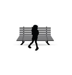 girl silhouette little and sweet on bench vector image