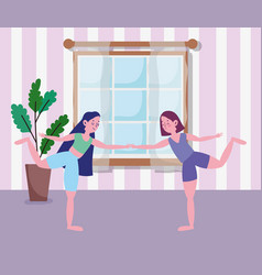 girls stretching training in room exercises vector image