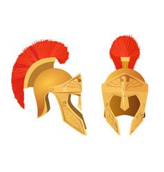 gladiator helmet set roman ancient military vector image