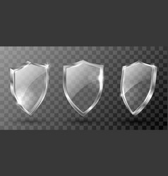 Glass shield realistic award trophy certificate vector